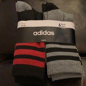 1 LEFT! Adidas Men's 3 Stripes Crew Socks 6 pk